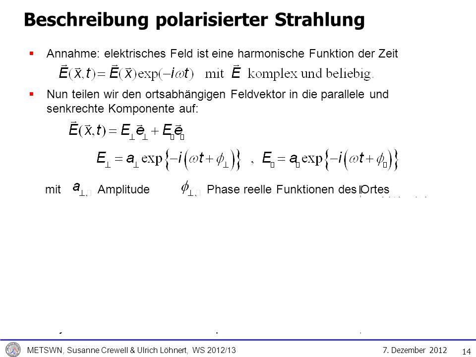 7. Dezember 2012 METSWN, Susanne Crewell & Ulrich Löhnert, WS 2012/13 Beschreibung polarisierter Strahlung Annahme: elektrisches Feld ist eine harmoni