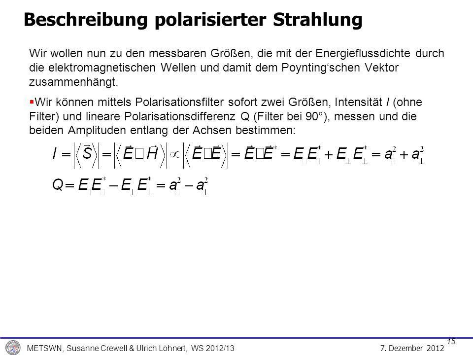 7. Dezember 2012 METSWN, Susanne Crewell & Ulrich Löhnert, WS 2012/13 Wir wollen nun zu den messbaren Größen, die mit der Energieflussdichte durch die