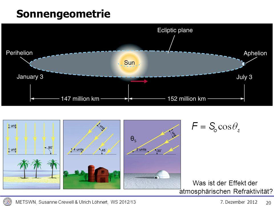 7. Dezember 2012 METSWN, Susanne Crewell & Ulrich Löhnert, WS 2012/13 20 Sonnengeometrie θsθs Was ist der Effekt der atmosphärischen Refraktivität?