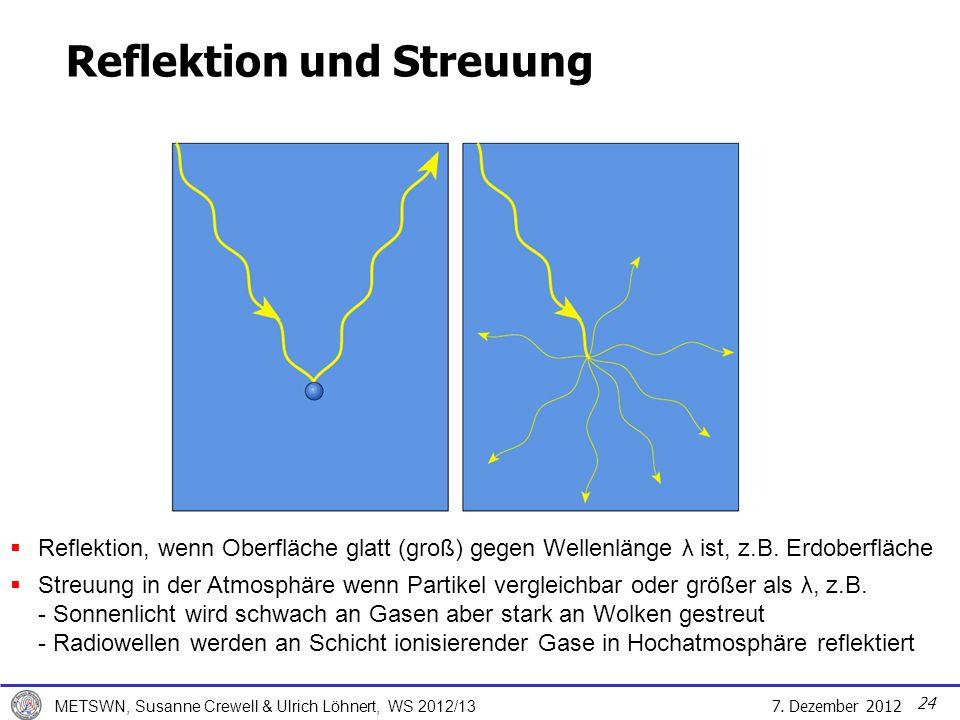 7. Dezember 2012 METSWN, Susanne Crewell & Ulrich Löhnert, WS 2012/13 Reflektion und Streuung 24 Reflektion, wenn Oberfläche glatt (groß) gegen Wellen