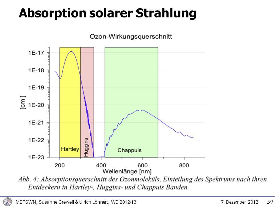 7. Dezember 2012 METSWN, Susanne Crewell & Ulrich Löhnert, WS 2012/13 34 Absorption solarer Strahlung Atmosphären- oberrand
