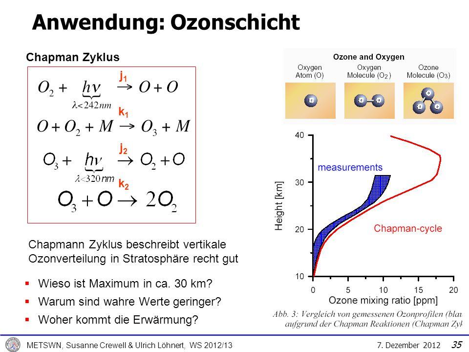 7. Dezember 2012 METSWN, Susanne Crewell & Ulrich Löhnert, WS 2012/13 35 Anwendung: Ozonschicht Chapmann Zyklus beschreibt vertikale Ozonverteilung in