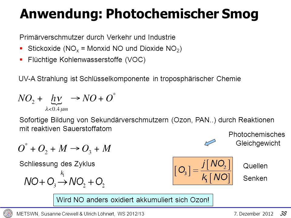 7. Dezember 2012 METSWN, Susanne Crewell & Ulrich Löhnert, WS 2012/13 Quellen Senken UV-A Strahlung ist Schlüsselkomponente in troposphärischer Chemie