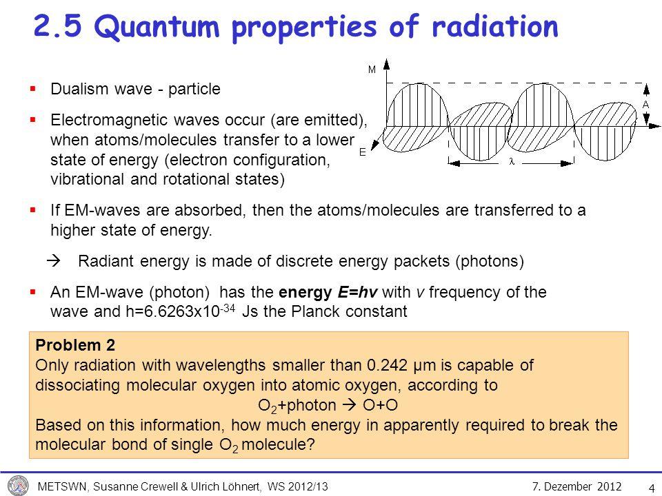 7. Dezember 2012 METSWN, Susanne Crewell & Ulrich Löhnert, WS 2012/13 4 2.5 Quantum properties of radiation Dualism wave - particle Electromagnetic wa