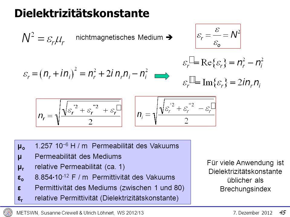 7. Dezember 2012 METSWN, Susanne Crewell & Ulrich Löhnert, WS 2012/13 Dielektrizitätskonstante nichtmagnetisches Medium Für viele Anwendung ist Dielek