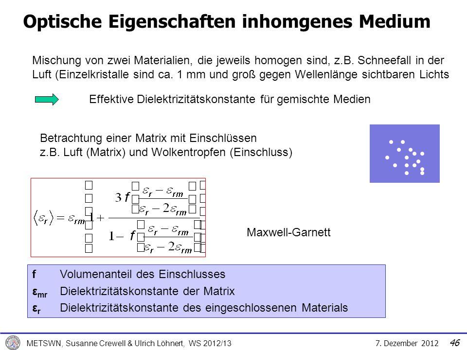 7. Dezember 2012 METSWN, Susanne Crewell & Ulrich Löhnert, WS 2012/13 Optische Eigenschaften inhomgenes Medium Mischung von zwei Materialien, die jewe
