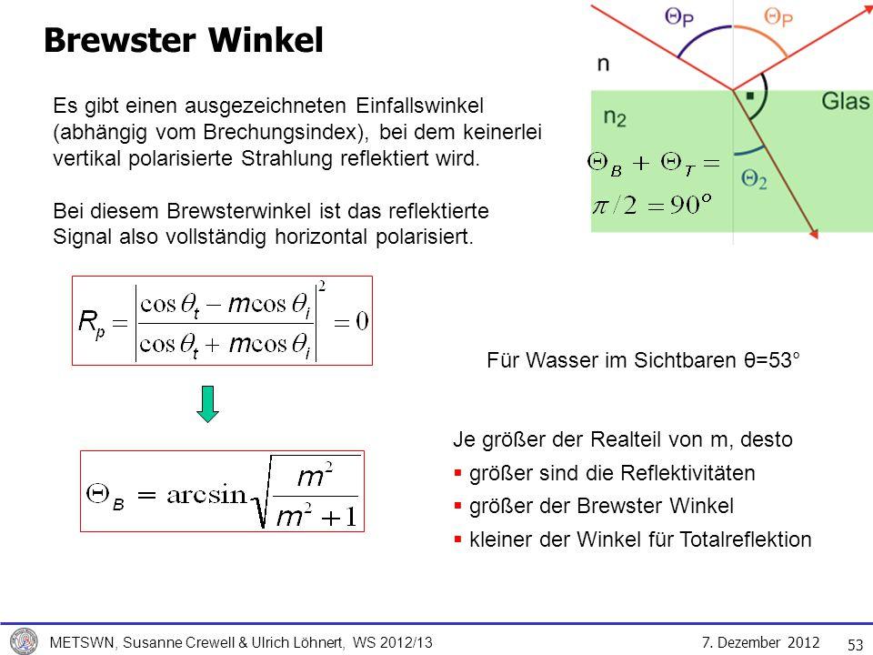 7. Dezember 2012 METSWN, Susanne Crewell & Ulrich Löhnert, WS 2012/13 53 Brewster Winkel Es gibt einen ausgezeichneten Einfallswinkel (abhängig vom Br