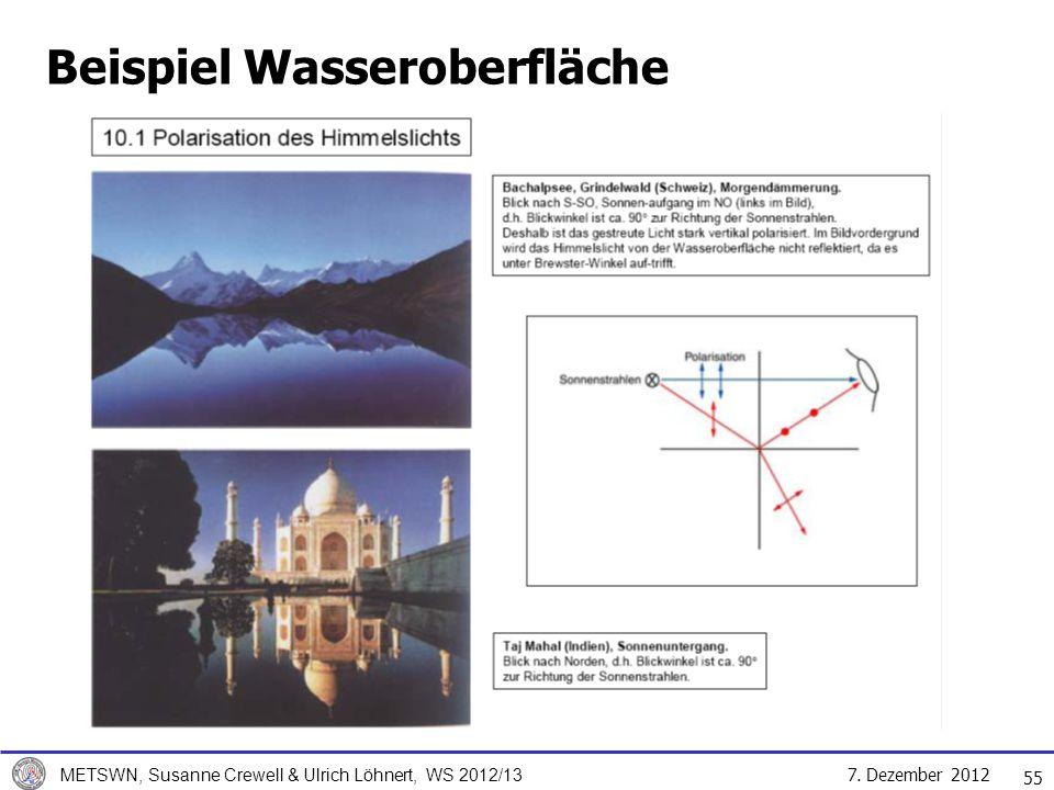 7. Dezember 2012 METSWN, Susanne Crewell & Ulrich Löhnert, WS 2012/13 Beispiel Wasseroberfläche 55