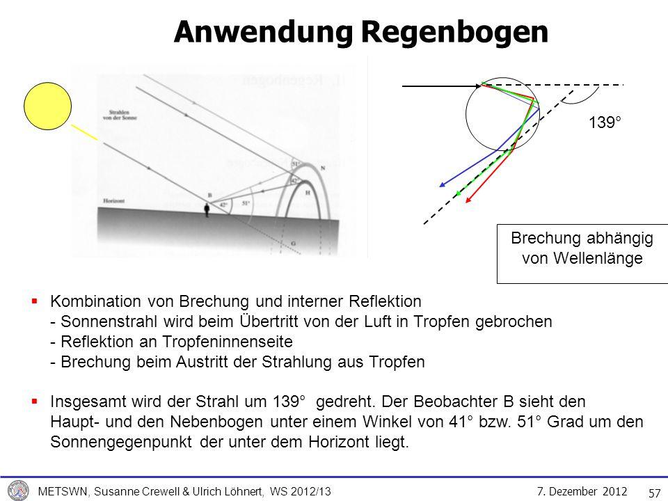 7. Dezember 2012 METSWN, Susanne Crewell & Ulrich Löhnert, WS 2012/13 Kombination von Brechung und interner Reflektion - Sonnenstrahl wird beim Übertr