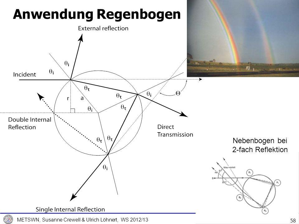 7. Dezember 2012 METSWN, Susanne Crewell & Ulrich Löhnert, WS 2012/13 58 Anwendung Regenbogen Nebenbogen bei 2-fach Reflektion 58