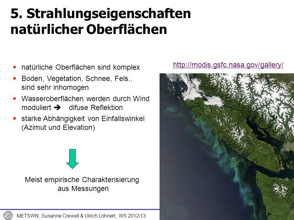 7. Dezember 2012 METSWN, Susanne Crewell & Ulrich Löhnert, WS 2012/13 5. Strahlungseigenschaften natürlicher Oberflächen natürliche Oberflächen sind k