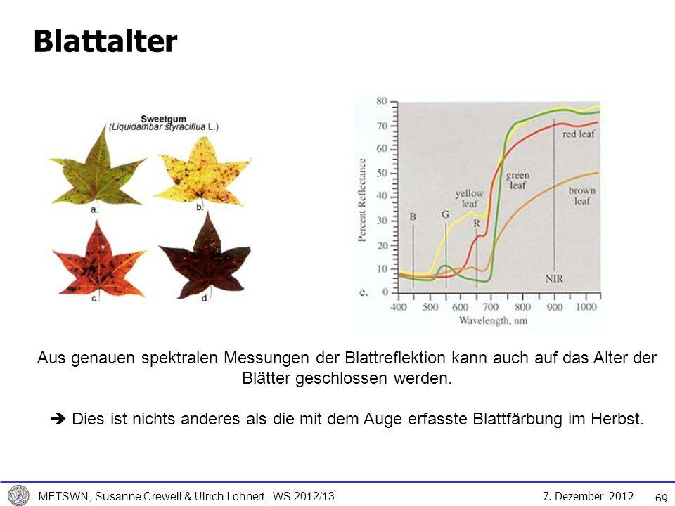 7. Dezember 2012 METSWN, Susanne Crewell & Ulrich Löhnert, WS 2012/13 Blattalter Aus genauen spektralen Messungen der Blattreflektion kann auch auf da