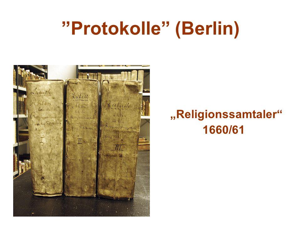 Protokolle (Berlin) Religionssamtaler 1660/61