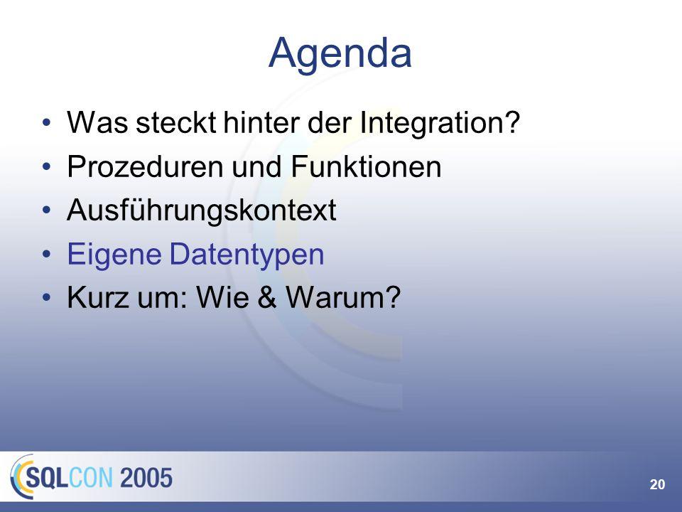 20 Agenda Was steckt hinter der Integration.