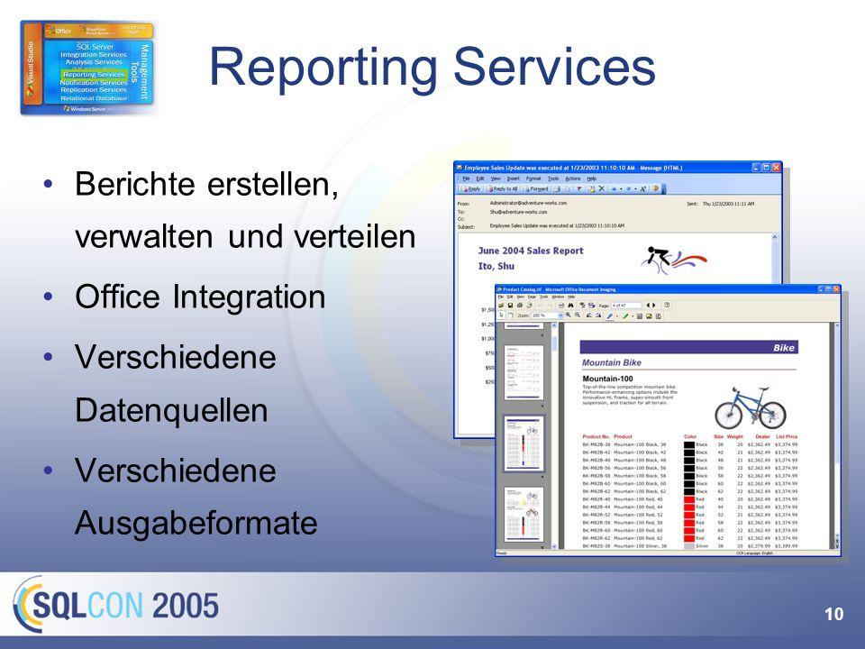 10 Reporting Services Berichte erstellen, verwalten und verteilen Office Integration Verschiedene Datenquellen Verschiedene Ausgabeformate