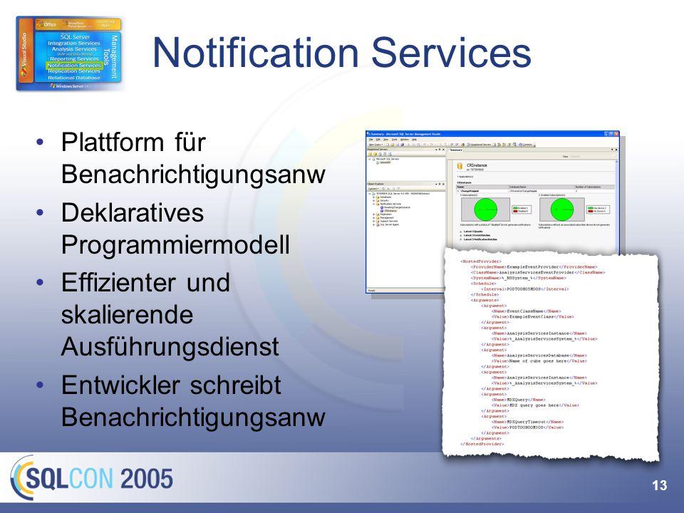 13 Notification Services Plattform für Benachrichtigungsanw Deklaratives Programmiermodell Effizienter und skalierende Ausführungsdienst Entwickler sc