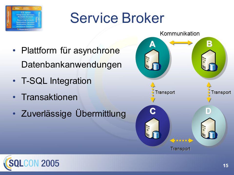 15 Service Broker A B KommunikationC Transport D Transport Transport Plattform für asynchrone Datenbankanwendungen T-SQL Integration Transaktionen Zuv