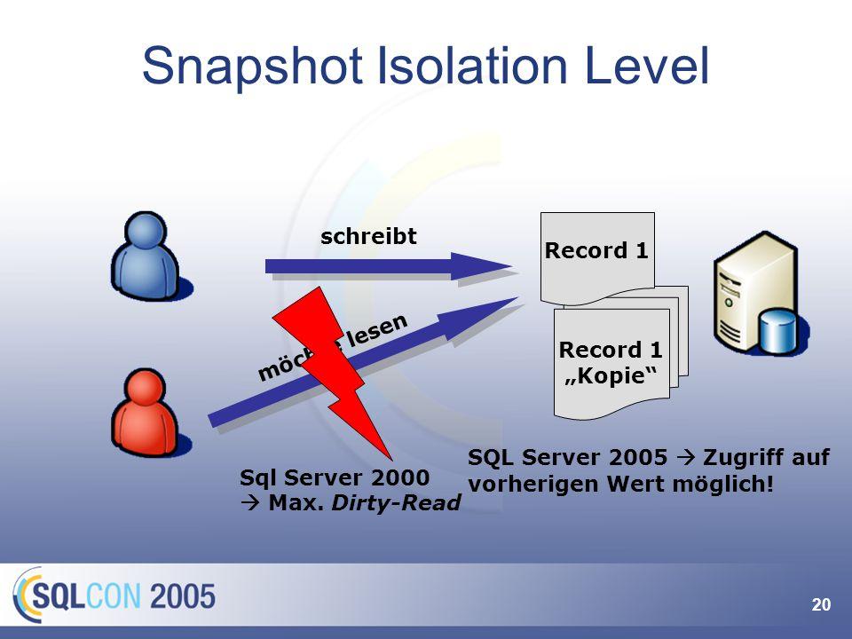 20 Snapshot Isolation Level Record 1 Kopie SQL Server 2005 Zugriff auf vorherigen Wert möglich! Record 1 schreibt möchte lesen Sql Server 2000 Max. Di