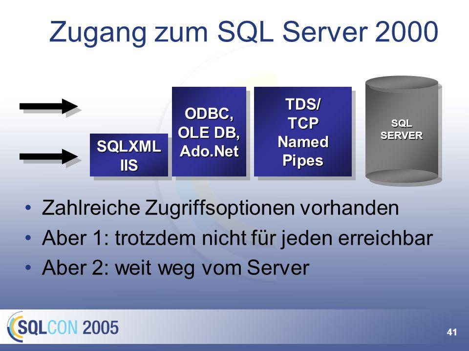 41 Zahlreiche Zugriffsoptionen vorhanden Aber 1: trotzdem nicht für jeden erreichbar Aber 2: weit weg vom Server Zugang zum SQL Server 2000 TDS/TCPNam