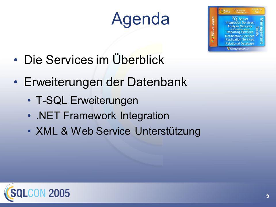 36 & XML mit dem Sql Server 2000 (SqlXml) Relationale Daten XML (FOR XML) XML Relationale Strukturen (OPEN XML) XML-Dokumente als Text speichern SQL Server 2005 bietet aber mehr XML-Datentyp mit XSD-Unterstützung XQuery/XPath im Sql-Statement nutzbar Indexierung der XML-Knoten Verbesserung FOR XML und OPEN XML