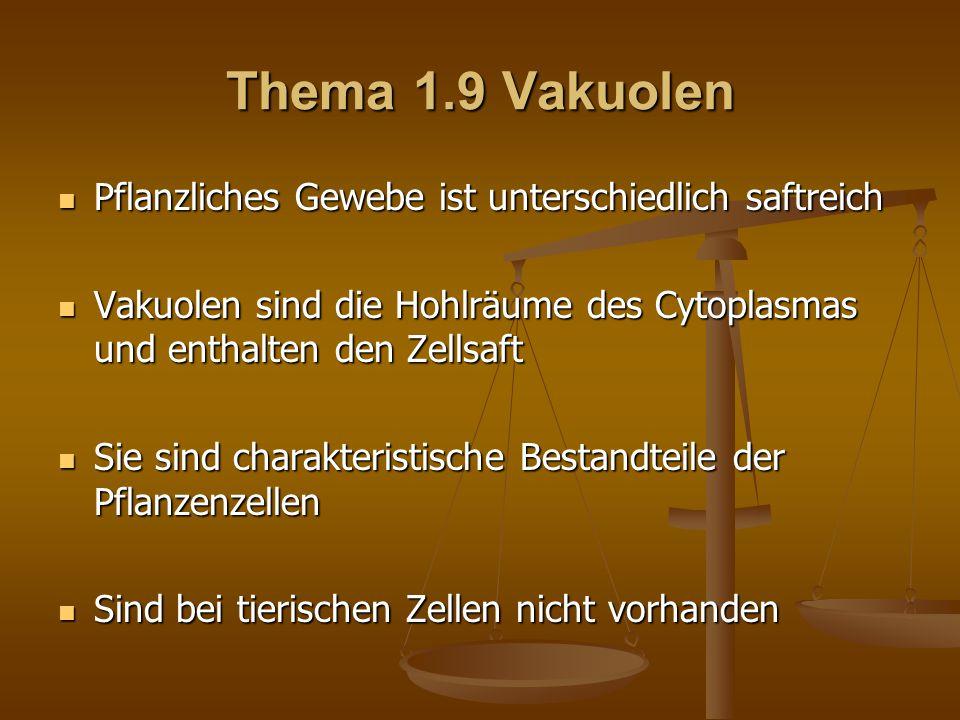 Thema 1.9 Vakuolen Pflanzliches Gewebe ist unterschiedlich saftreich Pflanzliches Gewebe ist unterschiedlich saftreich Vakuolen sind die Hohlräume des