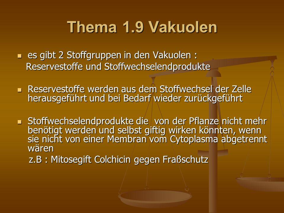 Thema 1.9 Vakuolen es gibt 2 Stoffgruppen in den Vakuolen : es gibt 2 Stoffgruppen in den Vakuolen : Reservestoffe und Stoffwechselendprodukte Reserve