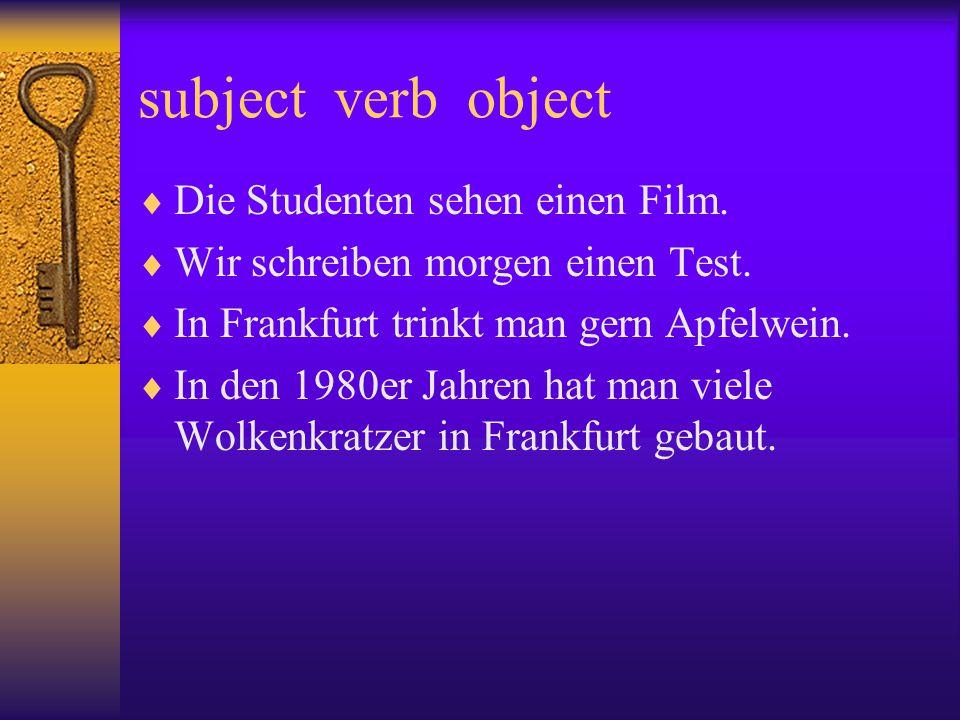 Passiv Apfelwein wird in Frankfurt getrunken. verb Object as Subject