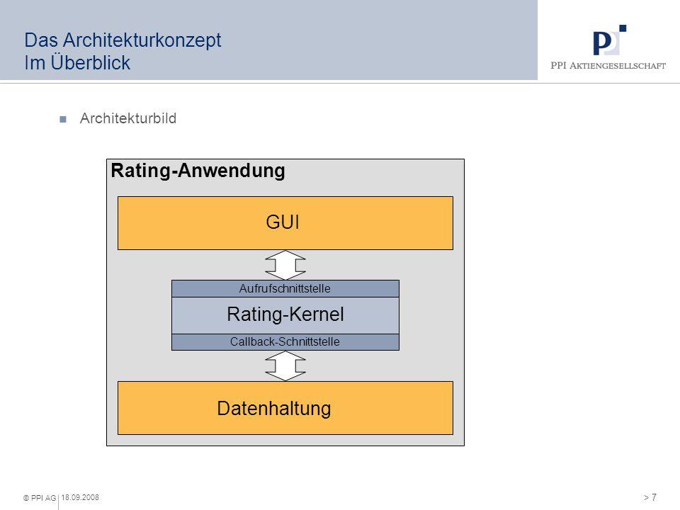 > 7 © PPI AG 18.09.2008 Das Architekturkonzept Im Überblick Architekturbild GUI Rating-Anwendung Rating-Kernel Aufrufschnittstelle Callback-Schnittste