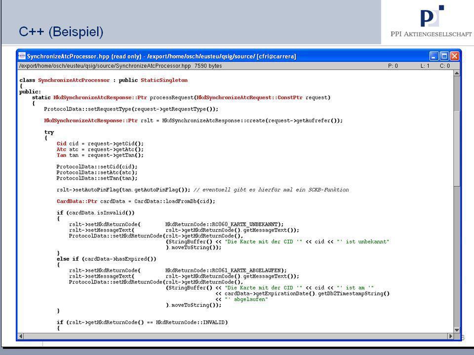 6 18.09.2008 Hanseatic Mainframe Summit © PPI AG C++ (Beispiel) Hier beginnt der Text Hier beginnt eine Aufzählung