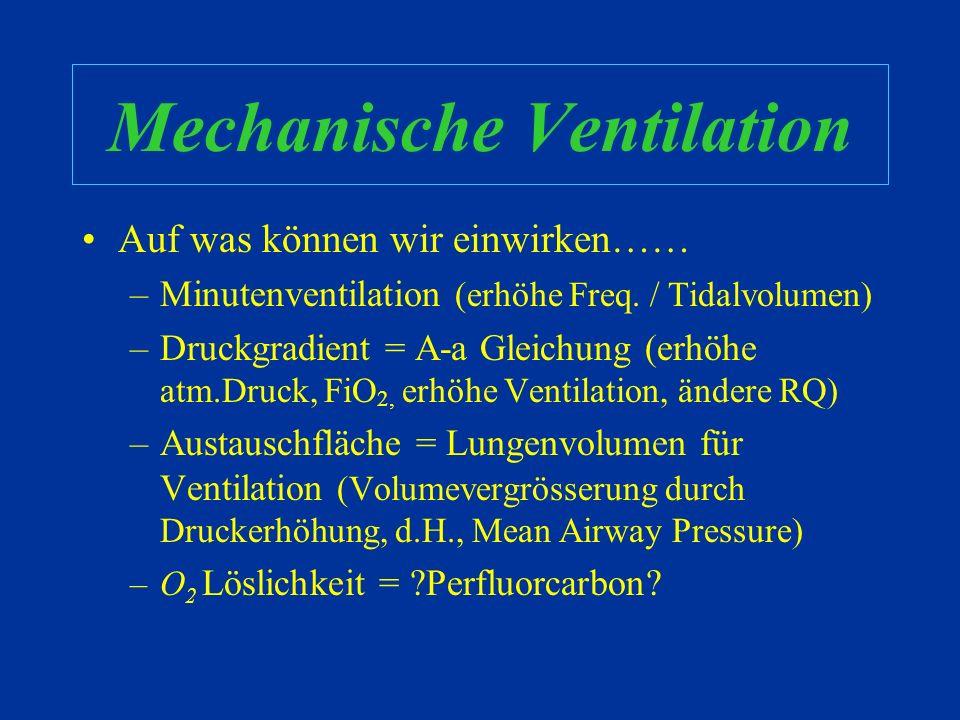 Gasaustausch Hypoventilation und V/Q mismatch sind die häufigsten Ursachen des abnormen Gasaustausches auf einer PICU (Päd.IPS) Korrigiere Hypoventila