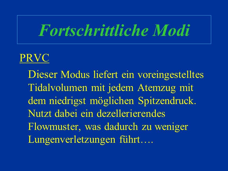 Fortschrittliche Modi Pressure-Regulated Volume Control (PRVC) Volume Support Inverse Ratio (IRV) oder Airway- Pressure Release Ventilation (APRV) Bil
