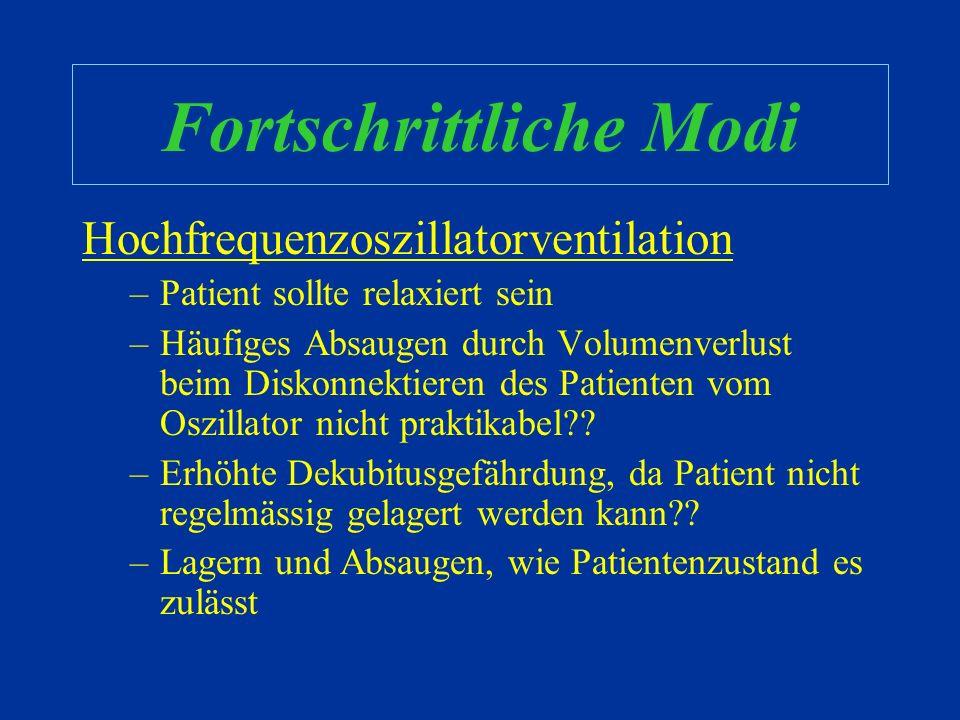 Fortschrittliche Modi Hochfrequenzoszillatorventilation –Extrem hohe Frequenzen (Hz = 60/min) –Tidalvolumina < anatomischer Totraum –Einstellen & Titr