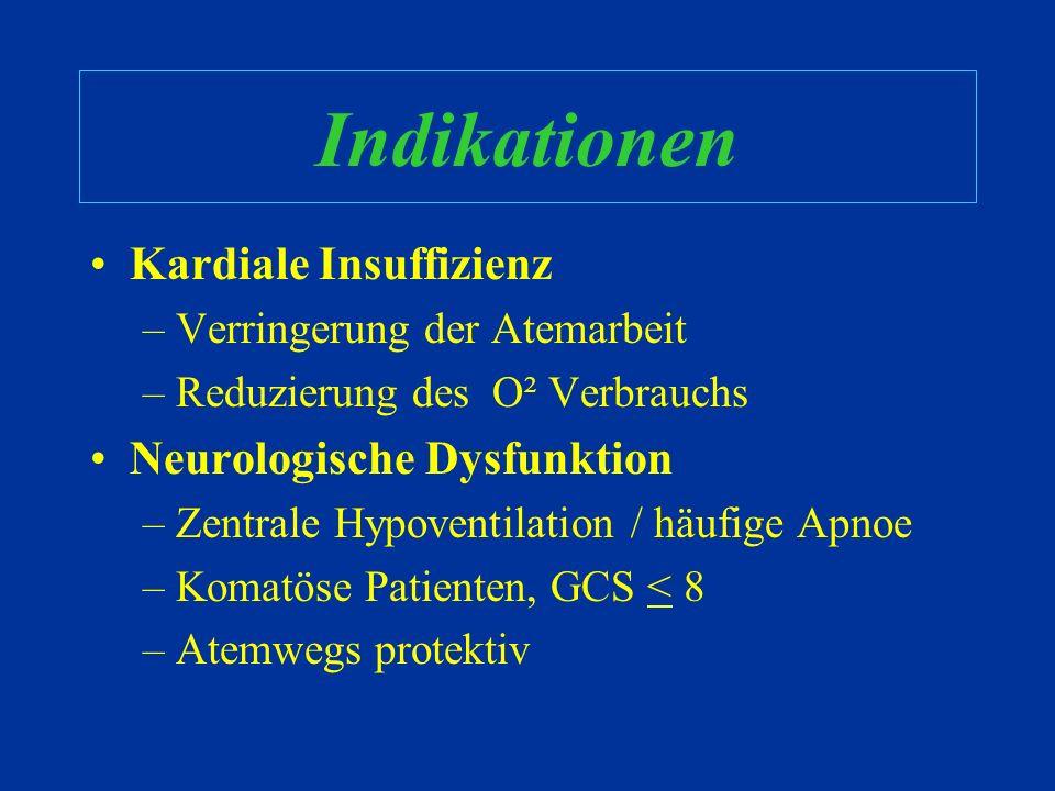 Indikationen Respiratorische Störungen –Apnoe / Respiratorischer Arrest –Inadäquate Ventilation (akut vs. chronisch) –Inadäquate Oxygenation –Chronisc