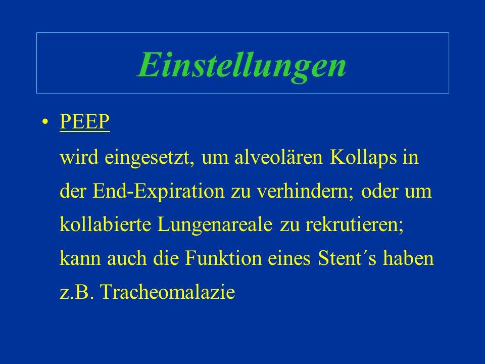 Anpassungen bezüglich Oxygenation, justiere: –FiO 2 –PEEP –T-insp –PIP bezüglich Ventilation, justiere: –Frequenz –Tidalvolumen MAP MV