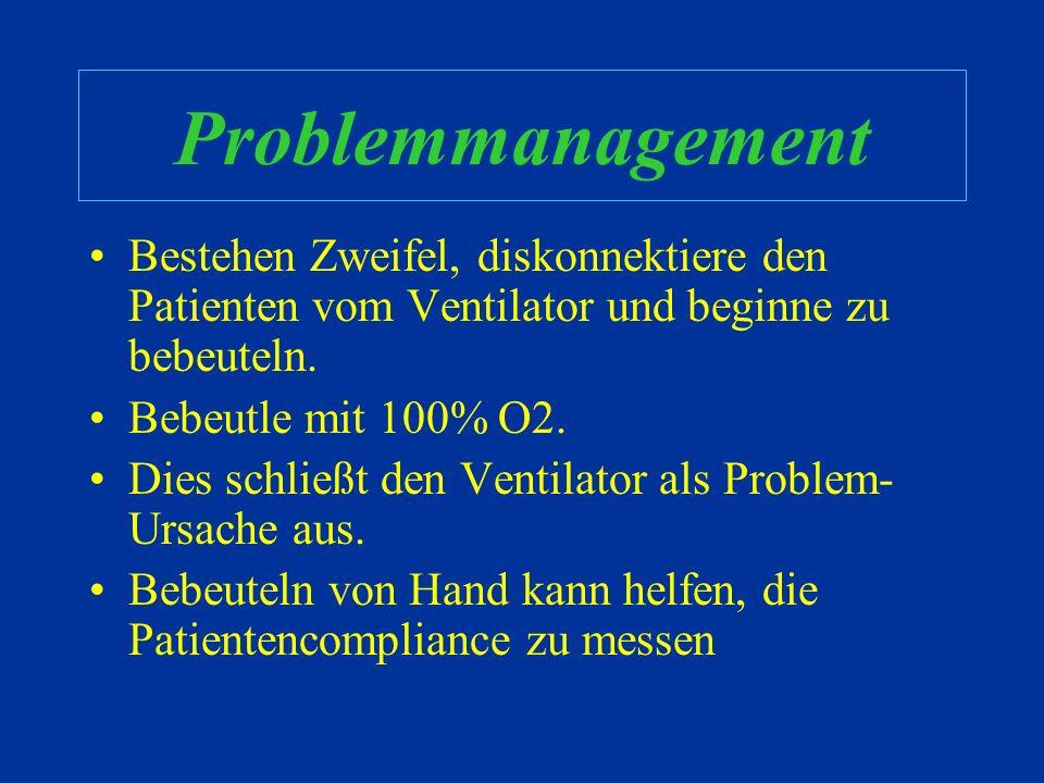 Problemmanagement Funktioniert meine Beatmungstherapie? –Schaue den Patienten an !! –Höre deinem Patienten zu !! –Pulsoxy, ABGA, EtCO 2 –Thorax Rx –Ve