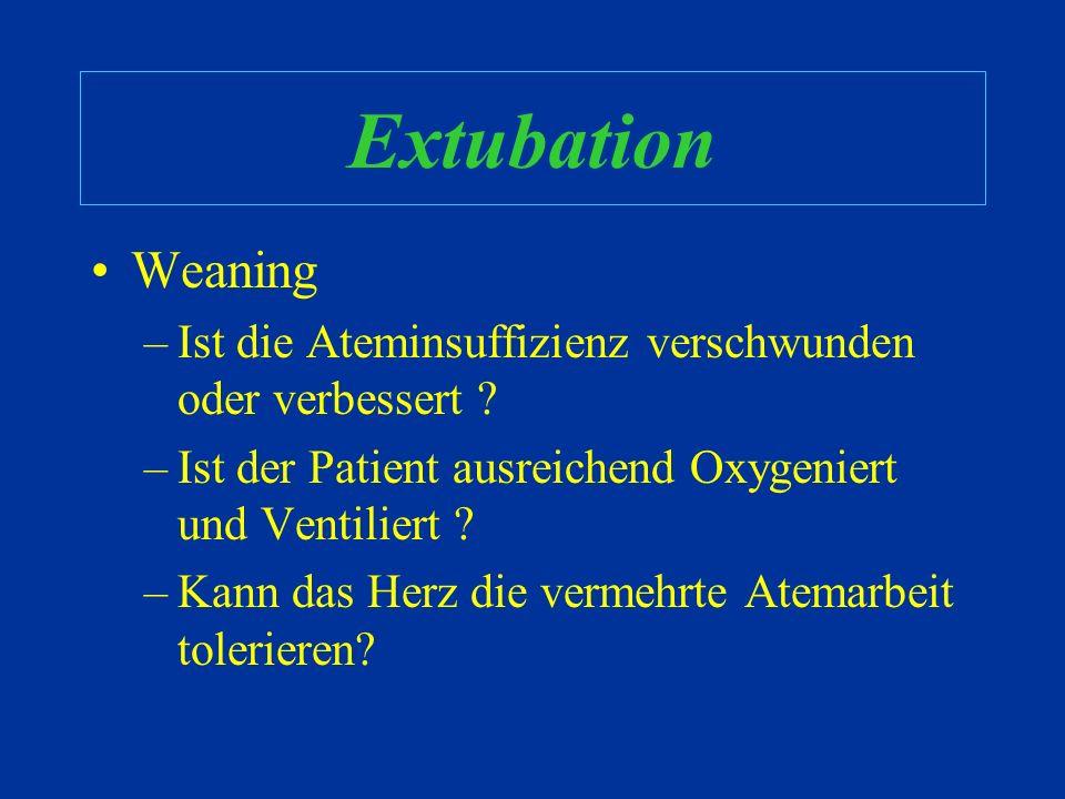 Komplikationen Andere Komplikationen –Ventilator Assoziierte Pneumonie –Sinusitis –Analgosedierung –Risiken assoziierter Geräte (ZVK, Arterie) –Ungepl
