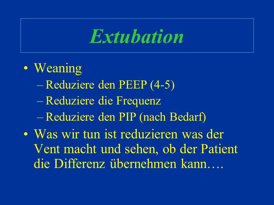 Extubation Weaning –Ist die Ateminsuffizienz verschwunden oder verbessert ? –Ist der Patient ausreichend Oxygeniert und Ventiliert ? –Kann das Herz di