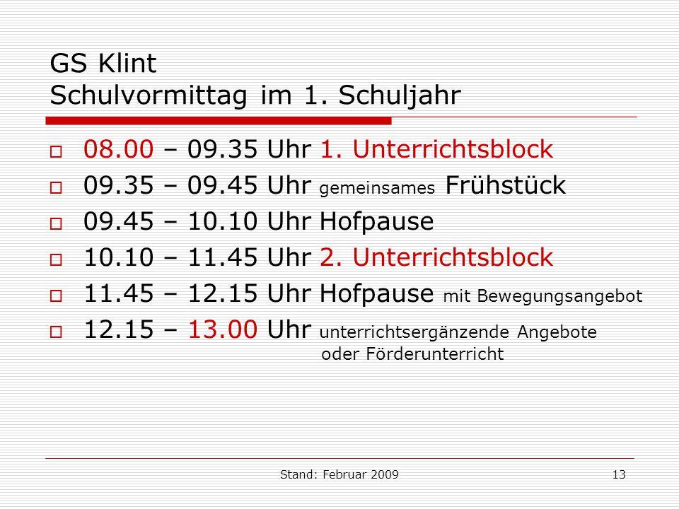 Stand: Februar 200913 GS Klint Schulvormittag im 1. Schuljahr 08.00 – 09.35 Uhr 1. Unterrichtsblock 09.35 – 09.45 Uhr gemeinsames Frühstück 09.45 – 10
