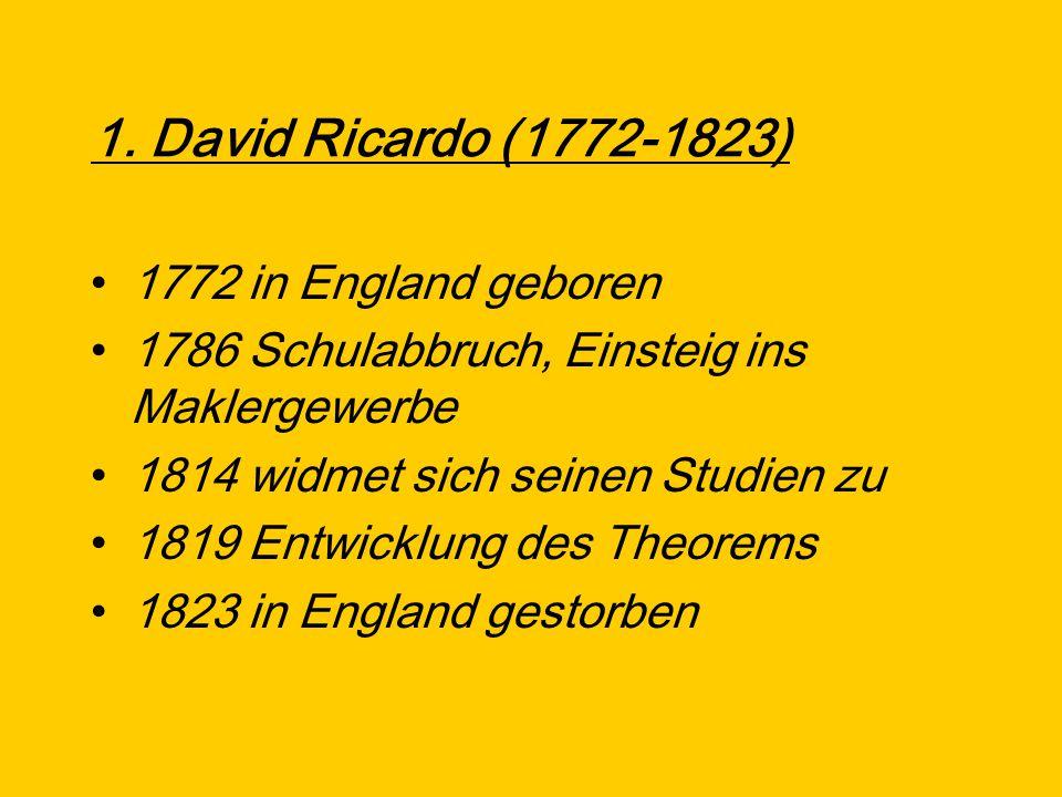 1. David Ricardo (1772-1823) 1772 in England geboren 1786 Schulabbruch, Einsteig ins Maklergewerbe 1814 widmet sich seinen Studien zu 1819 Entwicklung