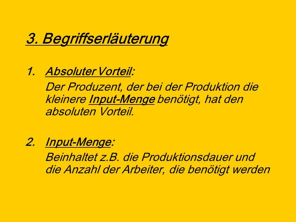 3. Begriffserläuterung 1.Absoluter Vorteil: Der Produzent, der bei der Produktion die kleinere Input-Menge benötigt, hat den absoluten Vorteil. 2.Inpu