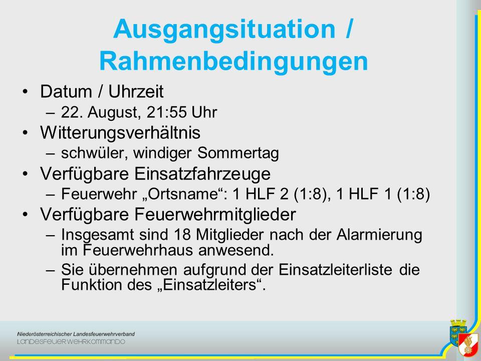 Ausgangsituation / Rahmenbedingungen Datum / Uhrzeit –22. August, 21:55 Uhr Witterungsverhältnis –schwüler, windiger Sommertag Verfügbare Einsatzfahrz