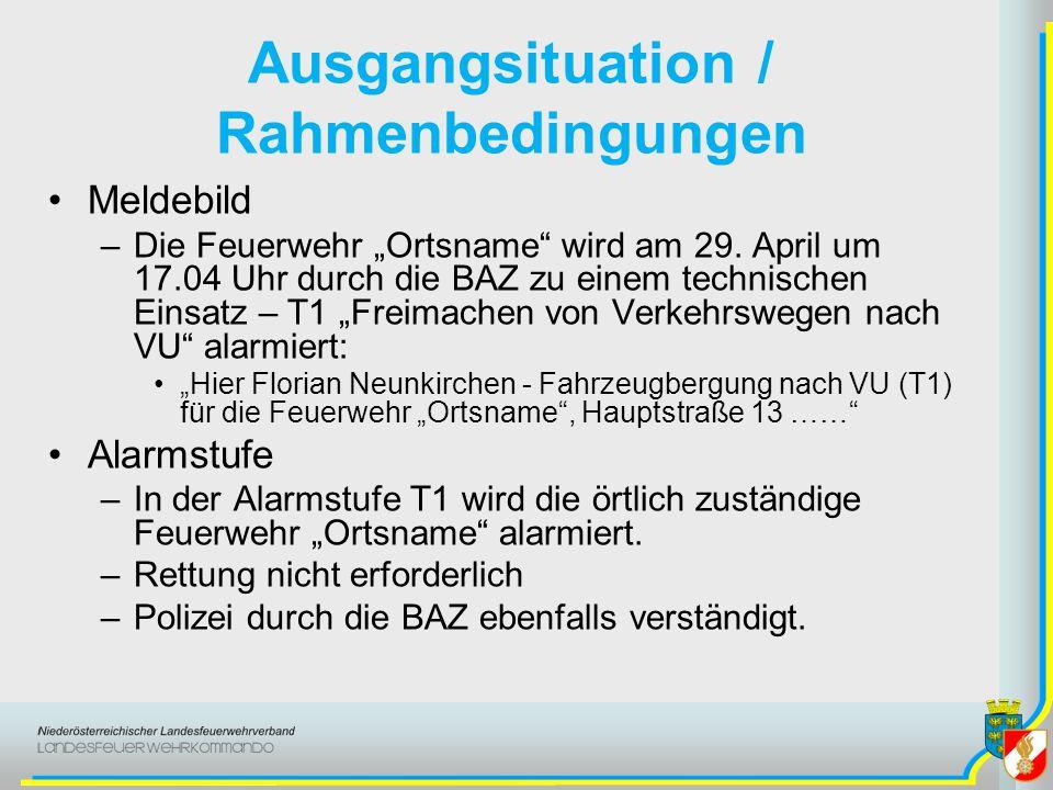 Ausgangsituation / Rahmenbedingungen Meldebild –Die Feuerwehr Ortsname wird am 29. April um 17.04 Uhr durch die BAZ zu einem technischen Einsatz – T1