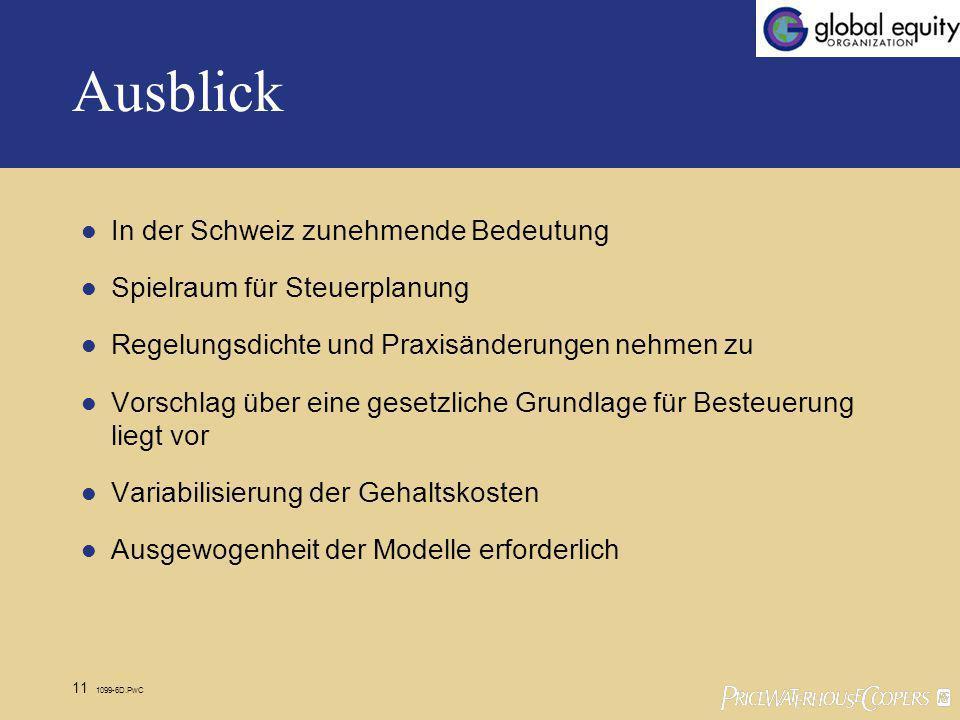 11 1099-6D.PwC Ausblick In der Schweiz zunehmende Bedeutung Spielraum für Steuerplanung Regelungsdichte und Praxisänderungen nehmen zu Vorschlag über eine gesetzliche Grundlage für Besteuerung liegt vor Variabilisierung der Gehaltskosten Ausgewogenheit der Modelle erforderlich
