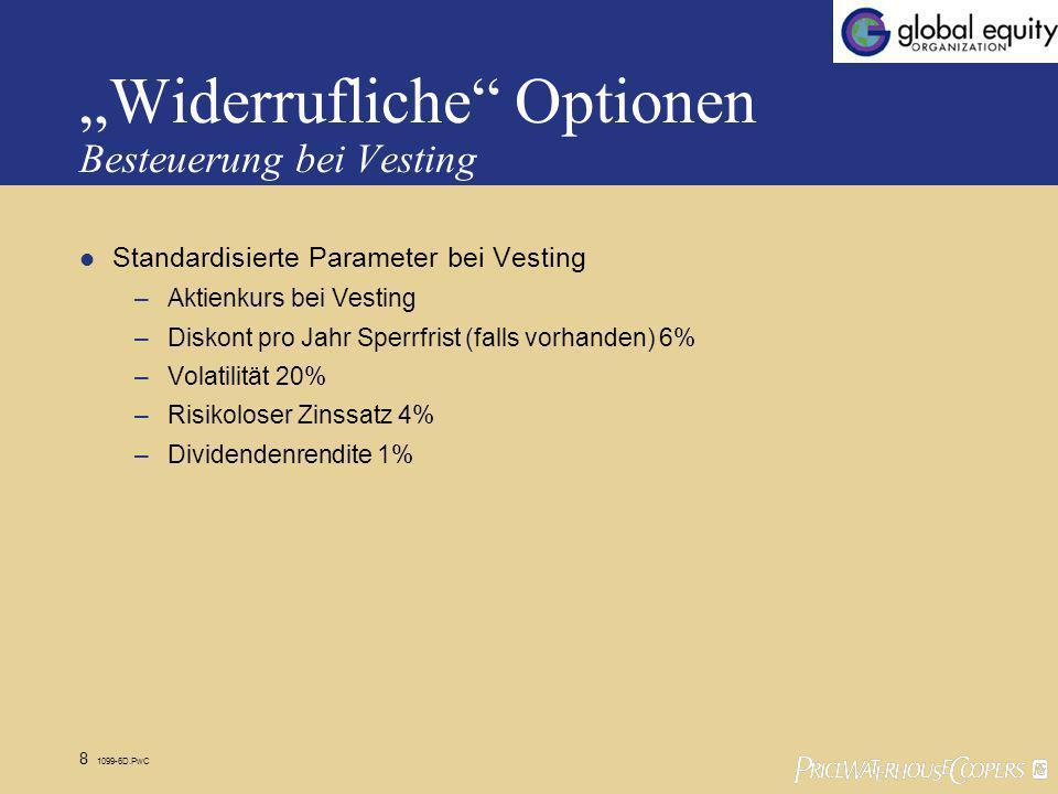 8 1099-6D.PwC Widerrufliche Optionen Besteuerung bei Vesting Standardisierte Parameter bei Vesting –Aktienkurs bei Vesting –Diskont pro Jahr Sperrfrist (falls vorhanden) 6% –Volatilität 20% –Risikoloser Zinssatz 4% –Dividendenrendite 1%