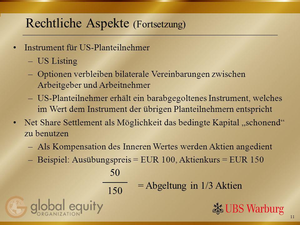 11 Rechtliche Aspekte (Fortsetzung) Instrument für US-Planteilnehmer –US Listing –Optionen verbleiben bilaterale Vereinbarungen zwischen Arbeitgeber und Arbeitnehmer –US-Planteilnehmer erhält ein barabgegoltenes Instrument, welches im Wert dem Instrument der übrigen Planteilnehmern entspricht Net Share Settlement als Möglichkeit das bedingte Kapital schonend zu benutzen –Als Kompensation des Inneren Wertes werden Aktien angedient –Beispiel: Ausübungspreis = EUR 100, Aktienkurs = EUR 150 50 150 = Abgeltung in 1/3 Aktien