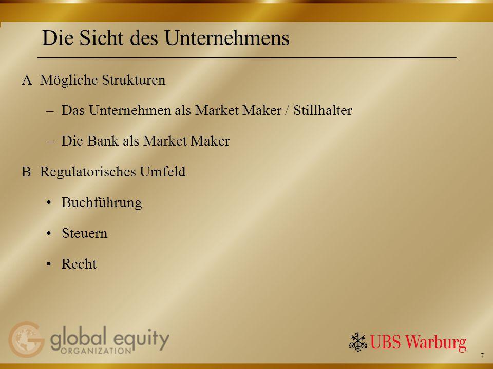 7 Die Sicht des Unternehmens AMögliche Strukturen –Das Unternehmen als Market Maker / Stillhalter –Die Bank als Market Maker BRegulatorisches Umfeld Buchführung Steuern Recht