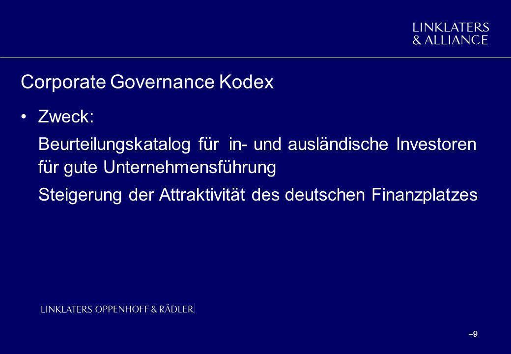 –10 Corporate Governance Kodex Rechtsnatur –Selbstverpflichtung der Wirtschaft - soft law –Für Soll-Vorschriften: gesetzliche Regelung im Entwurf eines Gesetzes zur weiteren Reform des Aktien- und Bilanzrechts, zu Transparenz und Publizität - Transparenz- und Publizitätsgesetz (Beschluss der BReg.vom 06.02.2002) § 161: comply-or-explain-Regelung