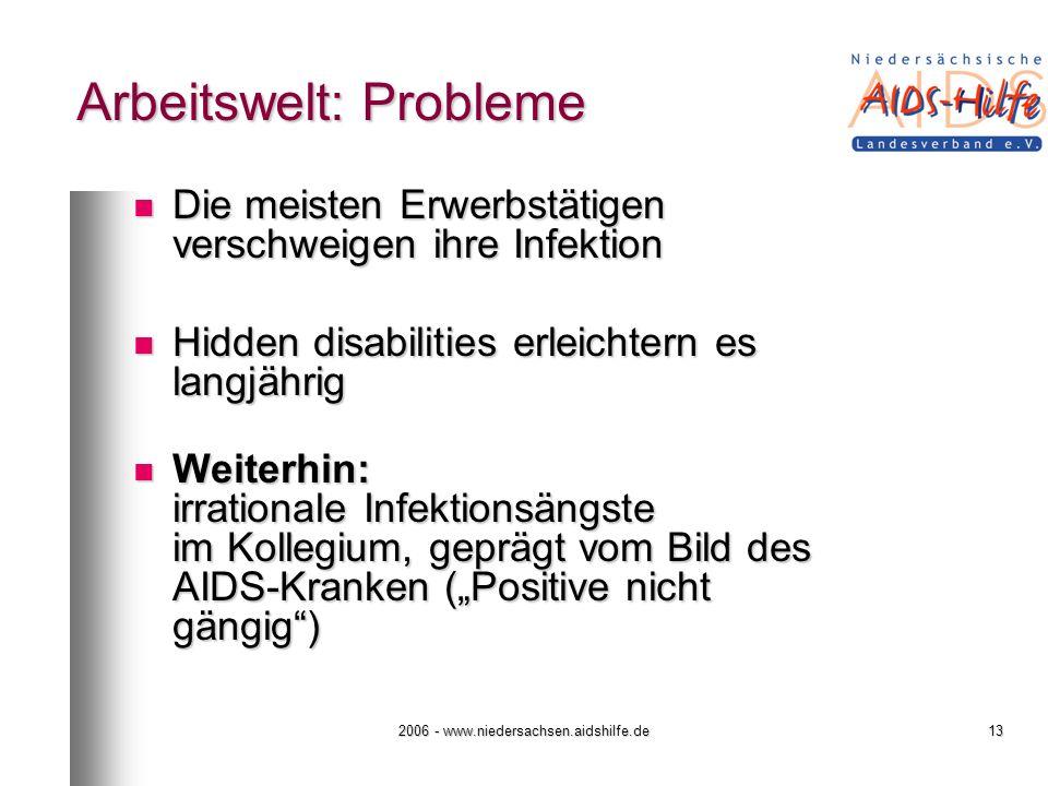 2006 - www.niedersachsen.aidshilfe.de13 Arbeitswelt: Probleme Die meisten Erwerbstätigen verschweigen ihre Infektion Die meisten Erwerbstätigen versch