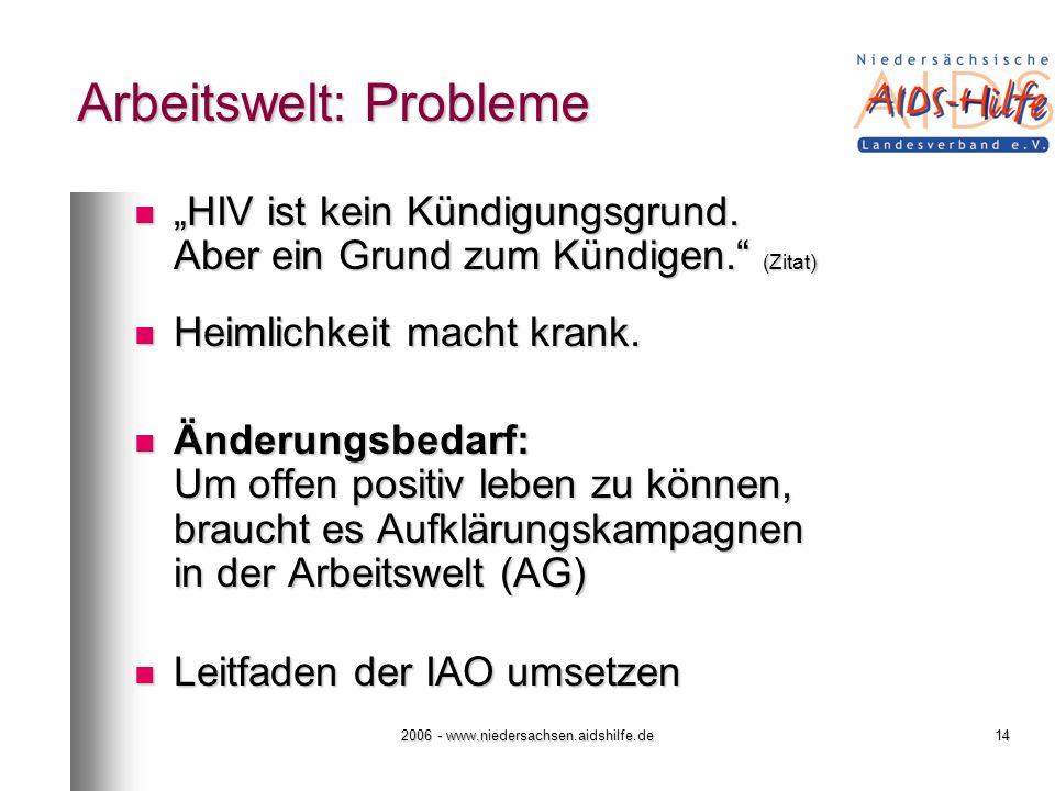 2006 - www.niedersachsen.aidshilfe.de14 Arbeitswelt: Probleme HIV ist kein Kündigungsgrund. Aber ein Grund zum Kündigen. (Zitat) HIV ist kein Kündigun