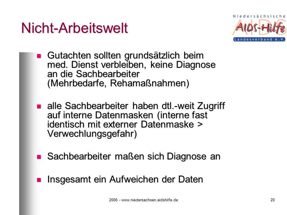 2006 - www.niedersachsen.aidshilfe.de20 Nicht-Arbeitswelt Gutachten sollten grundsätzlich beim med. Dienst verbleiben, keine Diagnose an die Sachbearb